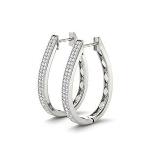 De Couer 10k White Gold 1/3ct Diamond Hoop Earrings (H-I, I2)