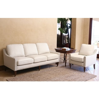 ABBYSON LIVING Monica Pedersen Ivory Bonded Leather Nailhead Sofa and Armchair