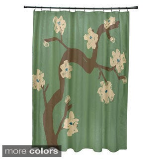 71 x 74-inch Floral Branch Print Shower Curtain