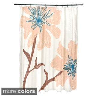 71 x 74-inch Funky Floral Print Shower Curtain