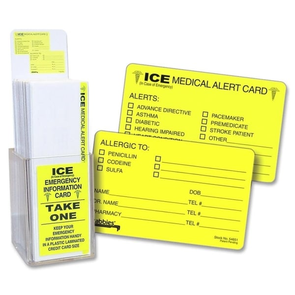 Tabbies Acrylic Emergency Information Card Display (150 Cards per Display)