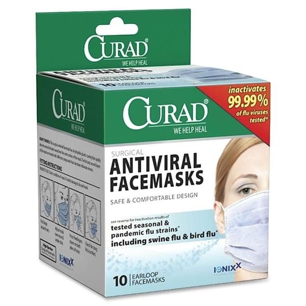 Curad CUR384S Antiviral Medical Face Mask, Pleated, 10/Box 14094717