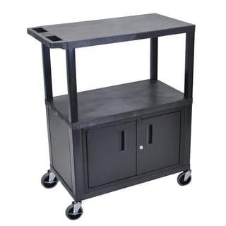 Luxor Black 3-shelf Presentation Station with Cabinet