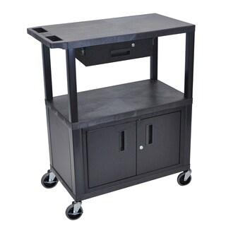 Luxor EA Series Black 3 Shelf Presentation Station W/ Cabinet & Drawer 32 x 18 Shelves