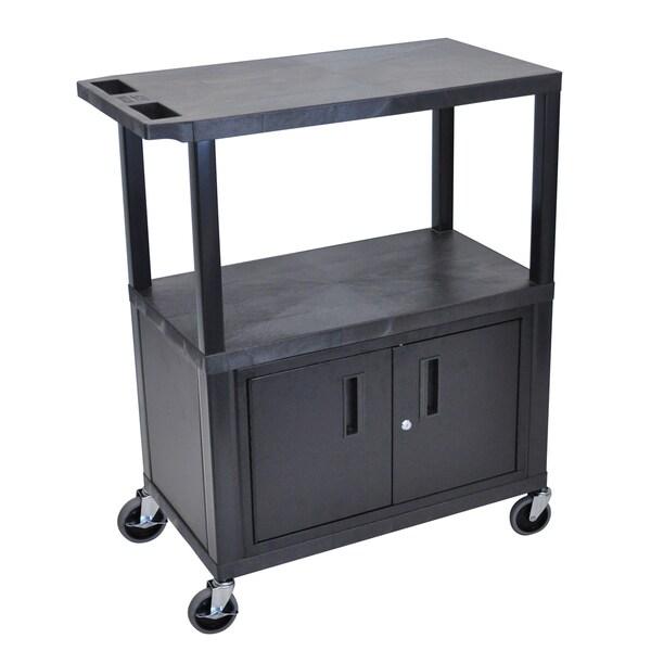 Luxor EA Series Black 3-shelf Electric Cabinet Presentation Station
