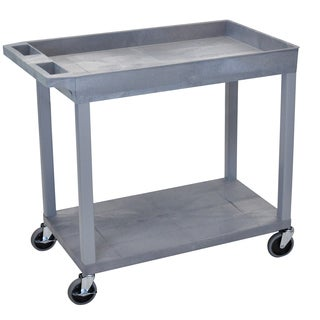 Luxor Grey Plastic High Capacity Top Tub and Flat Bottom Shelf Cart