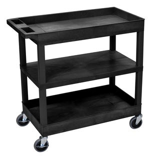 Luxor Black Plastic High-capacity Flat Shelf Cart with Two Tubs