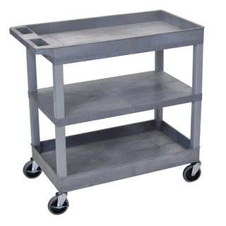 Luxor Grey Plastic High-capacity Single Flat Shelf Cart with Two Tubs