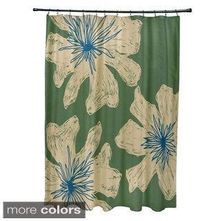 71 x 74-inch Two-tone Funky Floral Shower Curtain