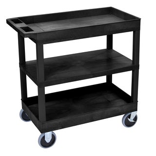 Luxor Black Durable Flat Shelf 2-tub Rolling Cart