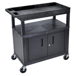 Luxor Plastic Black High Capacity Top Tub Shelf and Middle and Bottom Flat Shelves Cart with Cabinet