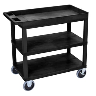 Luxor Plastic Black High Capacity Top Tub Shelf and Middle and Bottom Flat Shelves Heavy Duty Cart