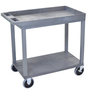 Luxor Plastic Grey High Capacity Top Tub Shelf and Bottom Flat Shelf Heavy Duty Cart
