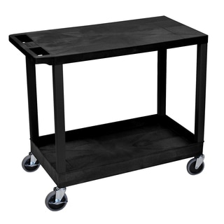 Luxor Plastic Black High Capacity Cart with Top Flat Shelf and Bottom Tub Shelf
