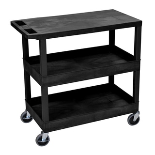 Luxor Plastic Black High Capacity Utility Cart with Shelves