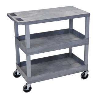 Luxor Plastic Grey High Capacity Utility Cart with Shelves
