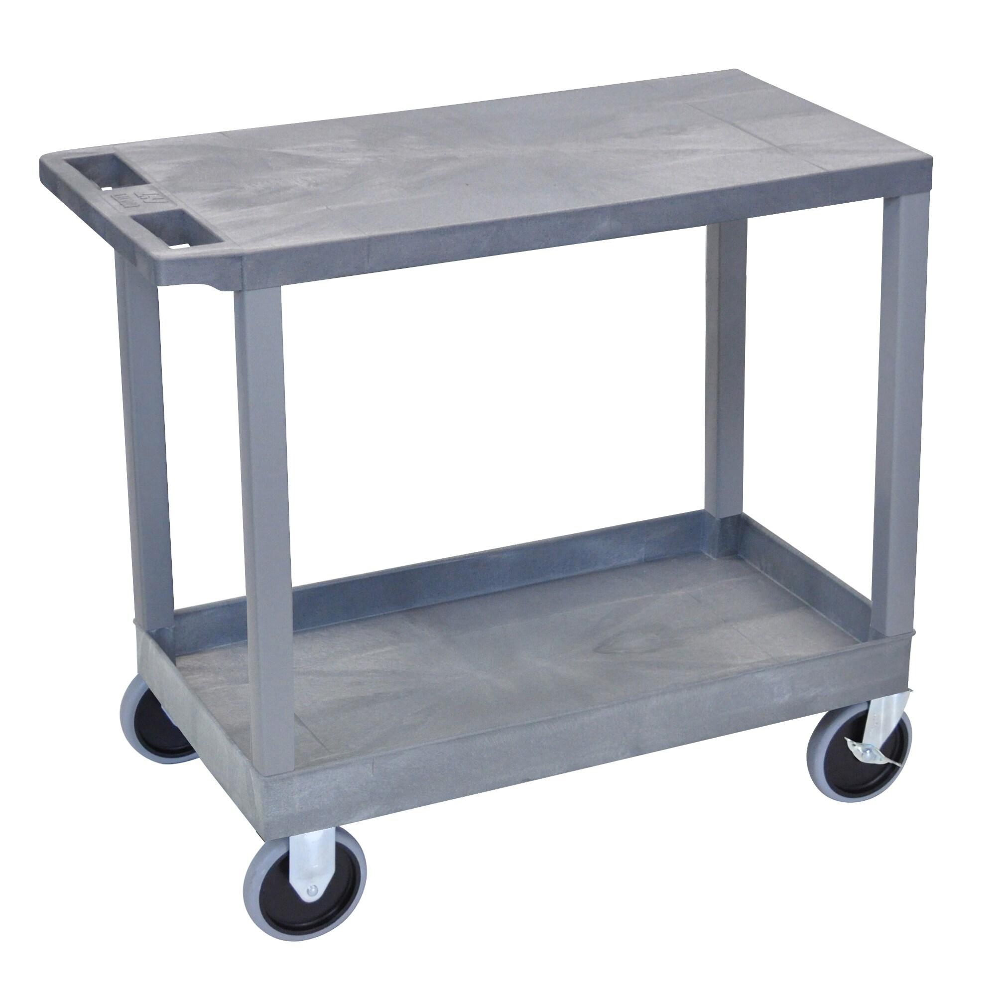 Luxor Plastic Grey High Capacity 1-tub Shelf 1-flat Shelf Cart