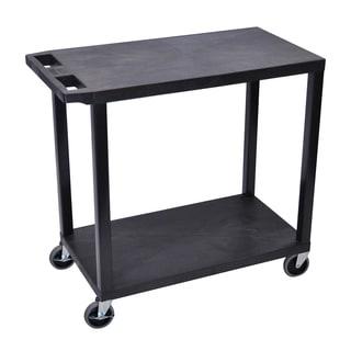 Luxor Plastic Black High Capacity 2-flat Shelf Cart