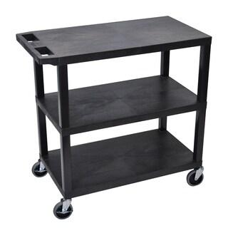 Luxor Black Plastic High Capacity 3-flat Shelf Cart