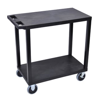 Luxor Plastic Black High Capacity 2-shelf Flat Cart