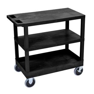Luxor Plastic Black High Capacity 3-shelf Cart with Tub