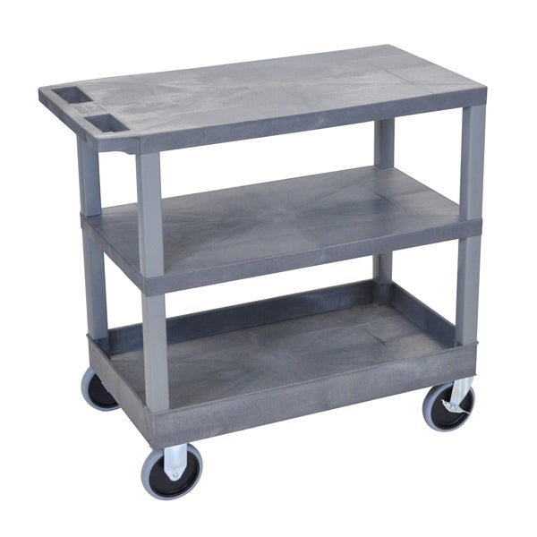 Luxor Plastic Grey High Capacity 3-shelf Cart with Tub