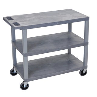 Luxor Grey Plastic High Capacity 3-Shelf Flat Cart