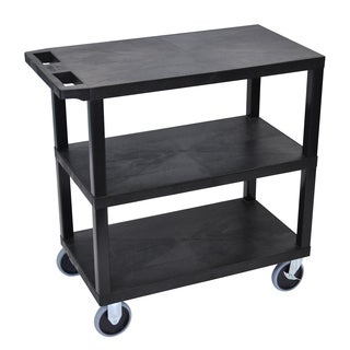 Luxor Plastic Black High Capacity 3-shelf Rolling Cart