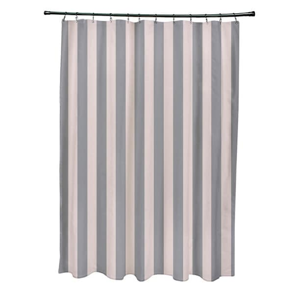 71 X 74 Inch Shell And Classic Striped Shower Curtain