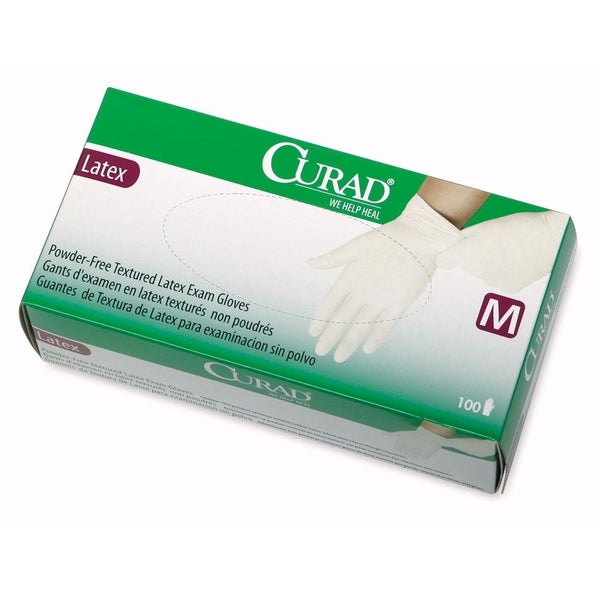Medline Curad Powder Free Latex Medium Size Exam Gloves (Box of 100)