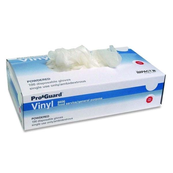 Pro-guard Clear Medium Size Powdered Vinyl Gloves (Box of 100)