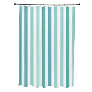 71 x 74-inch Jade and Bahama Striped Shower Curtain