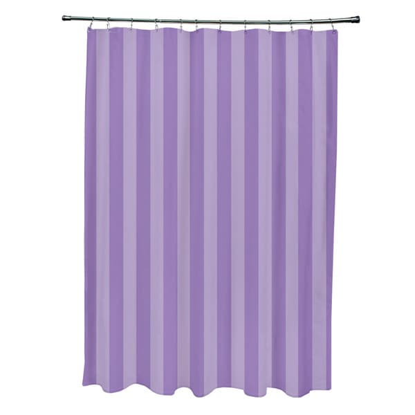 71 x 74-inch Lilac and Heather Striped Shower Curtain