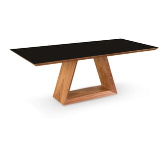 Aurelle Home Dolfino Walnut Dining Table with Glass Top