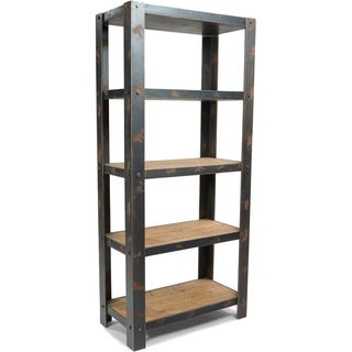 Aurelle Home Century Natural Wood and Sheet Metal Industrial Bookcase