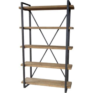 Aurelle Home Industrial Wood and Metal 5-tiered Shelf