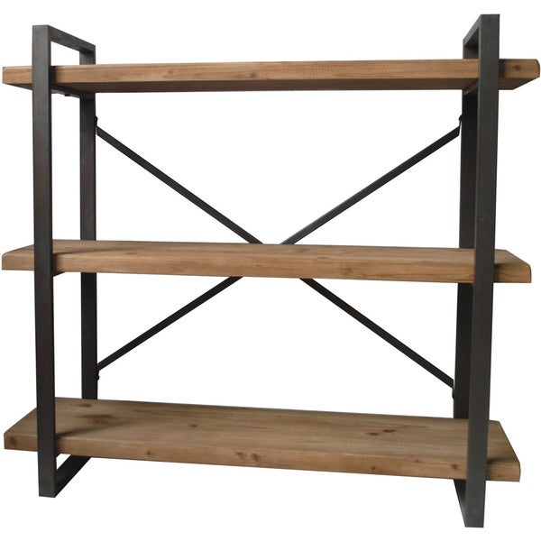 Aurelle home industrial wood and metal 3 tiered shelf for Furniture of america nara contemporary 6 shelf tiered open bookcase