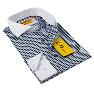BriO Milano Men's Navy/ Yellow Striped Button-down Dress Shirt