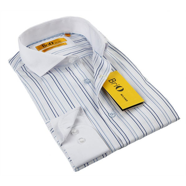 BriO Milano Men's White/ Blue Stripe Button Down Dress Shirt