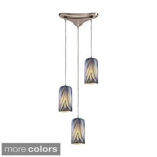 Elk Lighting Molten 3-light Satin Nickel/ Glass Pendant