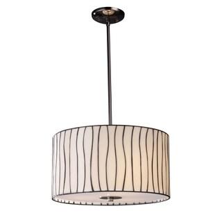 Elk Lighting Lineas 3-light Black and Art Glass Chrome Pendant