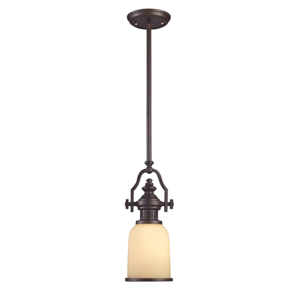 Chadwick Single-light Oiled Bronze Cream Shade Small Pendant
