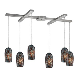 Collage 6-light Satin Nickel Pendant with Multicolored Glass Shades