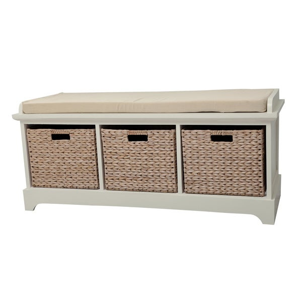 Gallerie D Cor Newport Three Basket Storage Bench Overstock Shopping Great Deals On Coffee