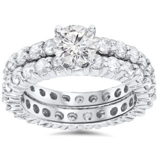 Bliss 14K White Gold 4ct TDW Diamond Eternity Engagement/ Wedding Ring Set (G/H, I1-I2)