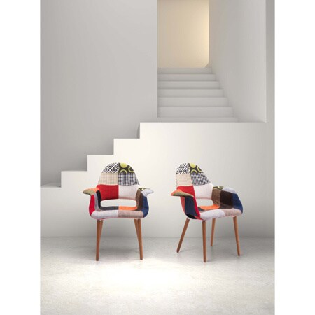 Moshe multi patchwork occasional chair set of 2 for Abbyson living soho cream fabric chaise