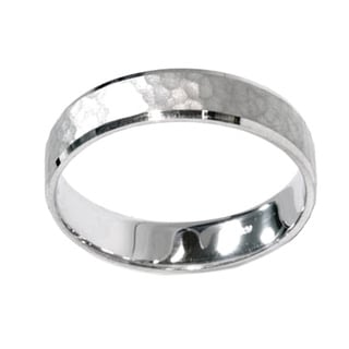 10k White Gold Men's 5mm Hammered Wedding Band