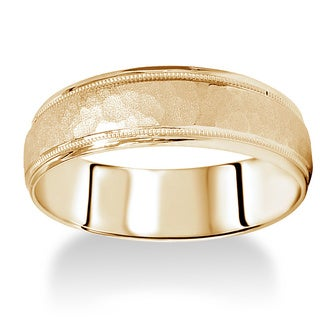 14k Yellow Gold Men's 6mm Hammered Wedding Band