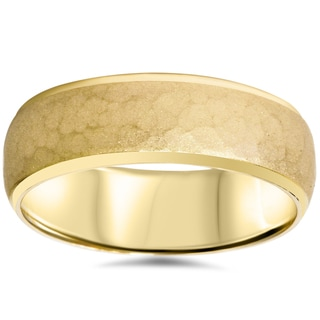 14k Yellow Gold Men's 7mm Hammered Wedding Band