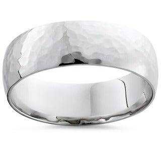 14k White Gold Men's 7mm Hammered Wedding Band